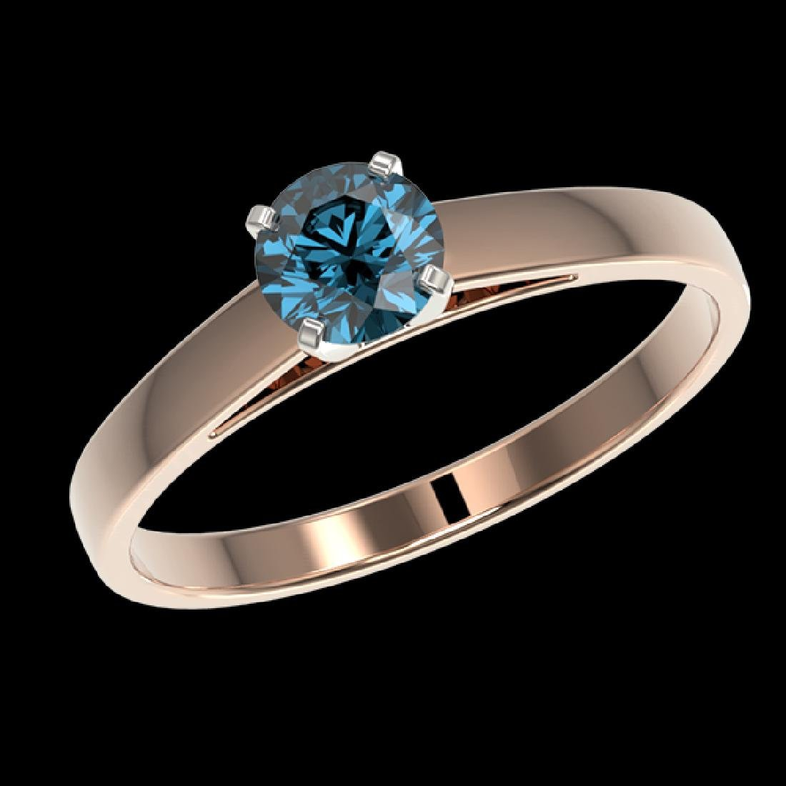 0.56 CTW Certified Intense Blue SI Diamond Solitaire - 2