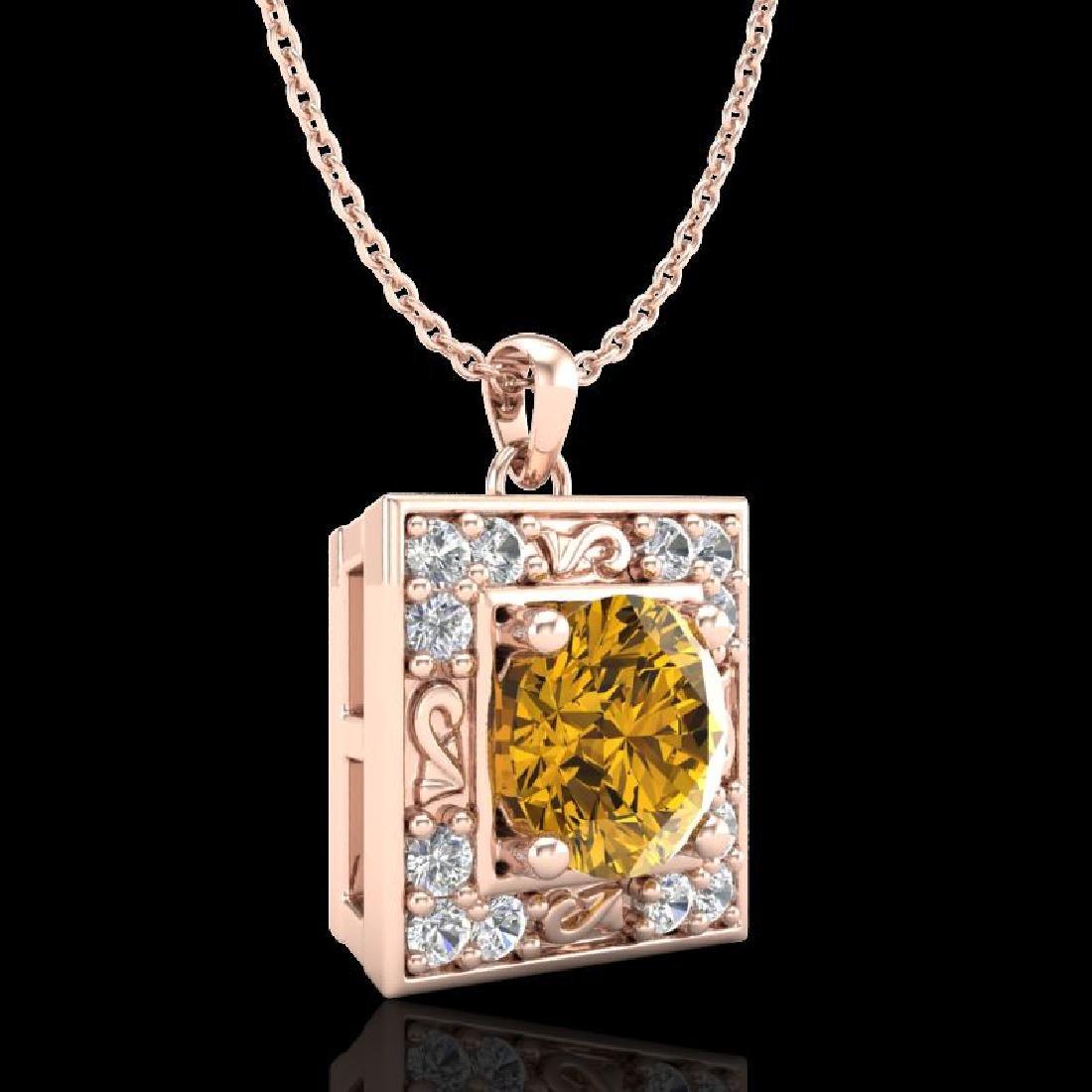1.02 CTW Intense Fancy Yellow Diamond Art Deco Stud - 3