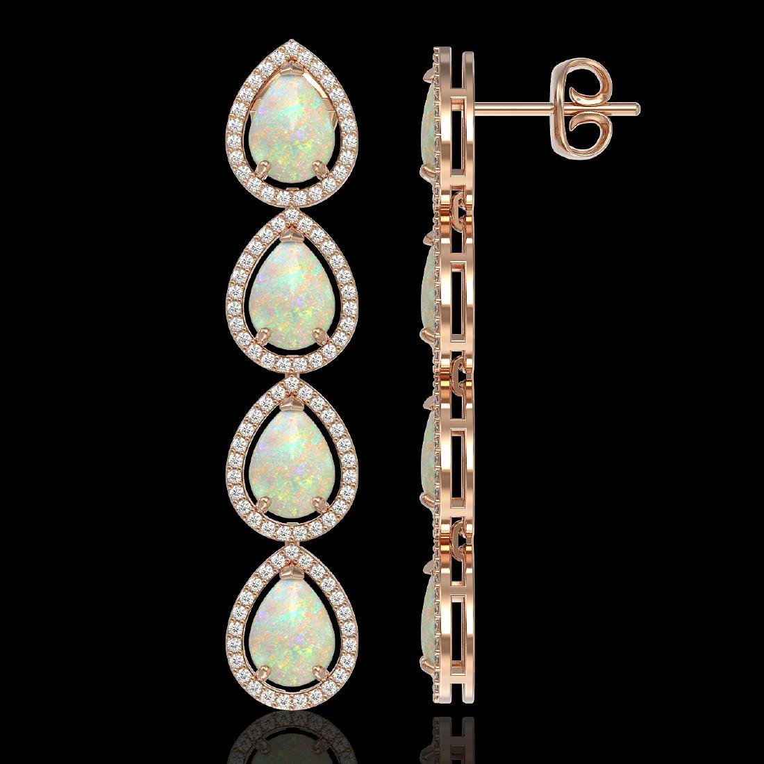 9.12 CTW Opal & Diamond Halo Earrings 10K Rose Gold - 2