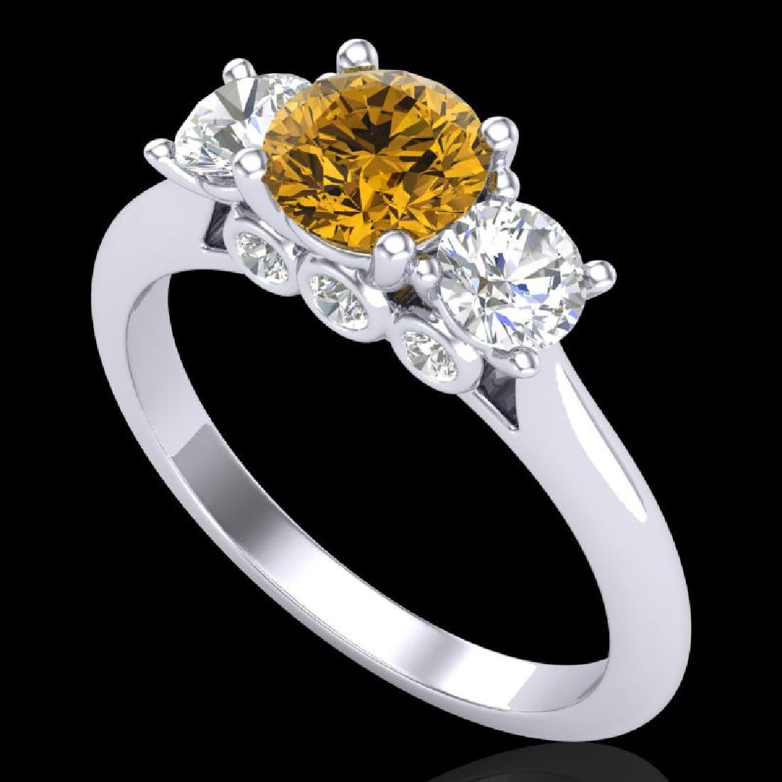 1.5 CTW Intense Fancy Yellow Diamond Art Deco 3 Stone