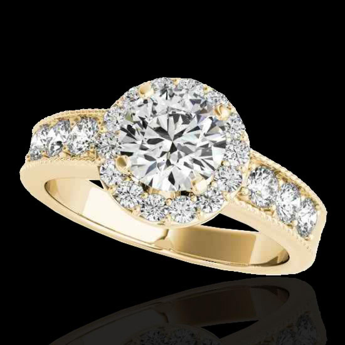 2.1 CTW H-SI/I Certified Diamond Solitaire Halo Ring