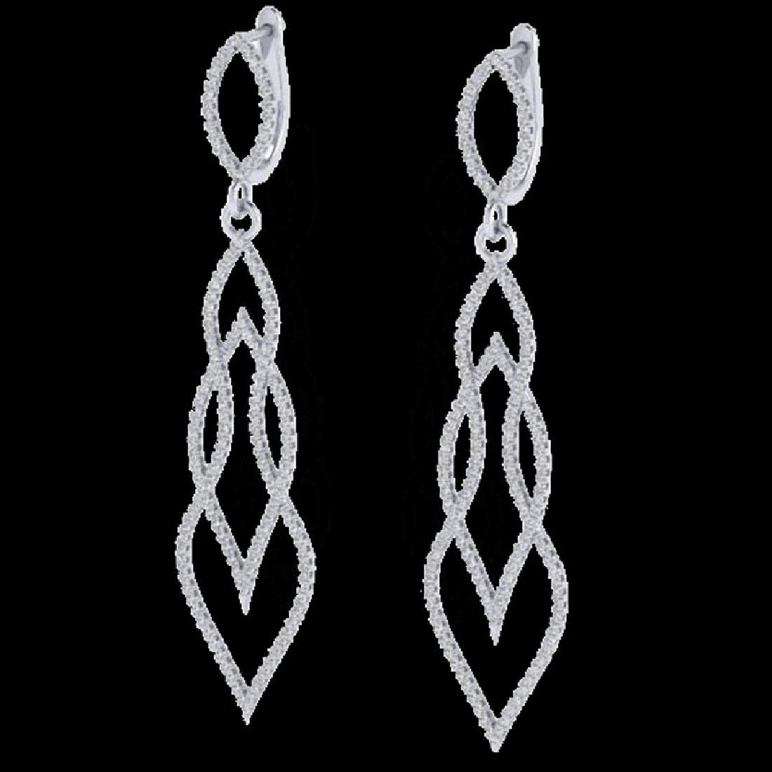 1.90 CTW Micro Pave VS/SI Diamond Earrings 14K White