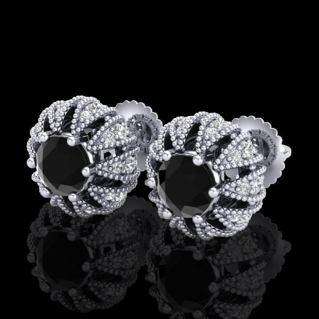 2.01 CTW Fancy Black Diamond Art Deco Micro Pave Stud
