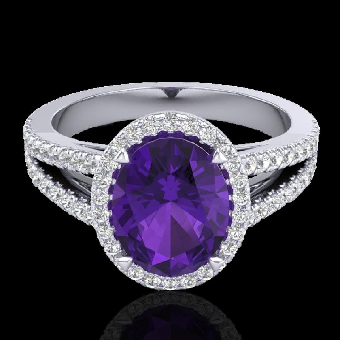 3 CTW Amethyst & Micro VS/SI Diamond Halo Solitaire