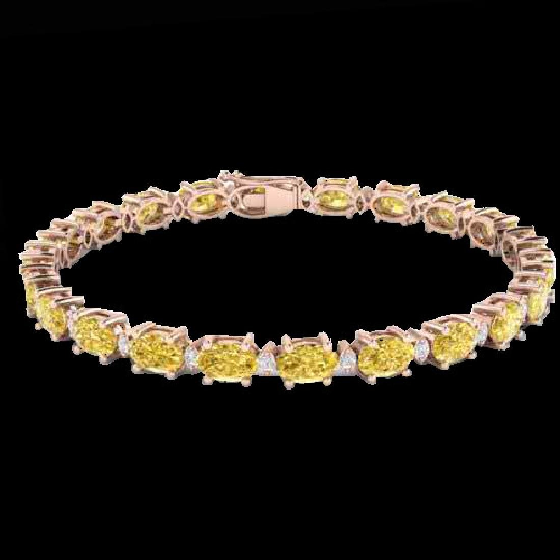 12 CTW Citrine & VS/SI Diamond Eternity Bracelet 10K - 2