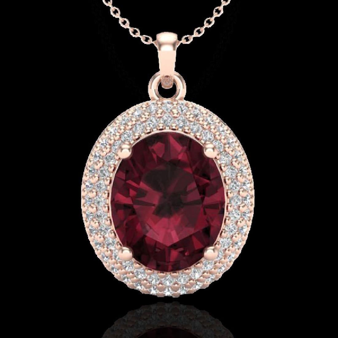 4.50 CTW Garnet & Micro Pave VS/SI Diamond Necklace 14K