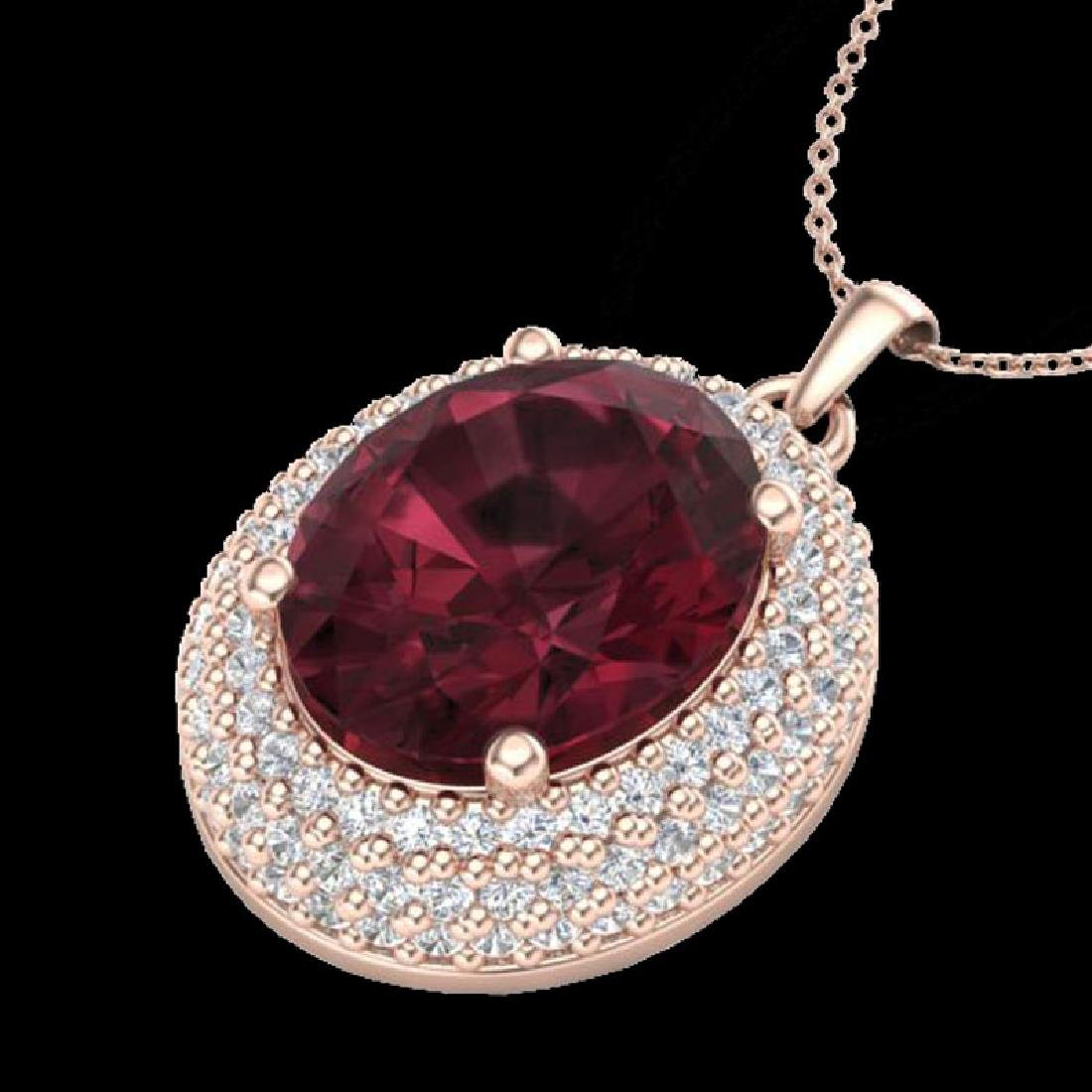 4.50 CTW Garnet & Micro Pave VS/SI Diamond Necklace 14K - 2