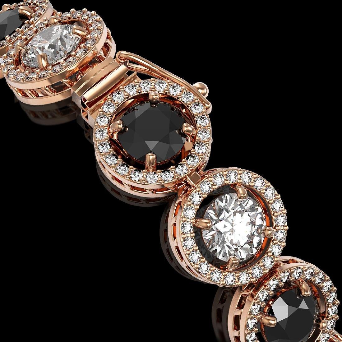 13.96 CTW Black & White Diamond Designer Bracelet 18K - 3