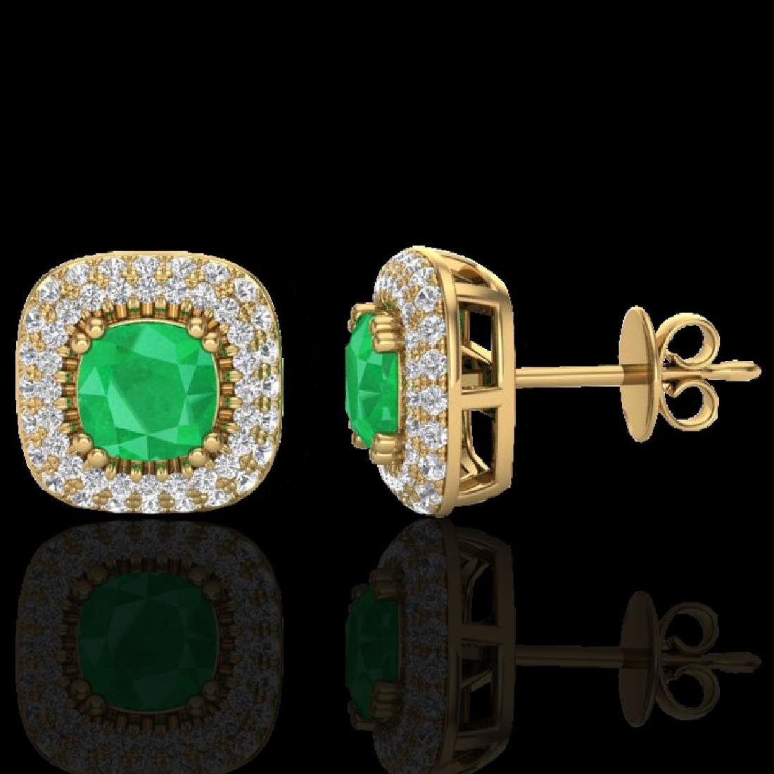 2.16 CTW Emerald & Micro VS/SI Diamond Earrings Double - 2