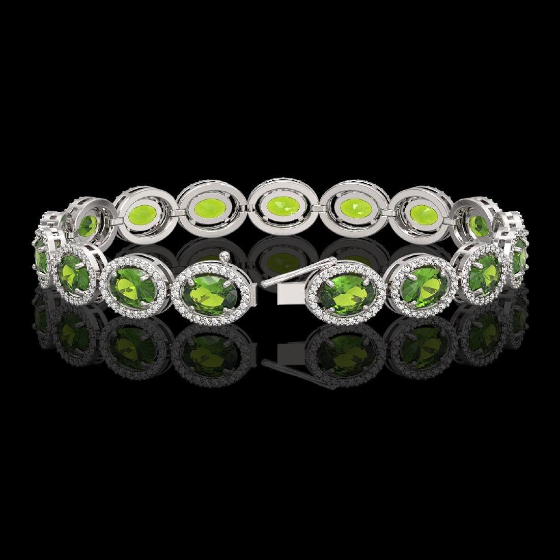 21.13 CTW Peridot & Diamond Halo Bracelet 10K White - 2