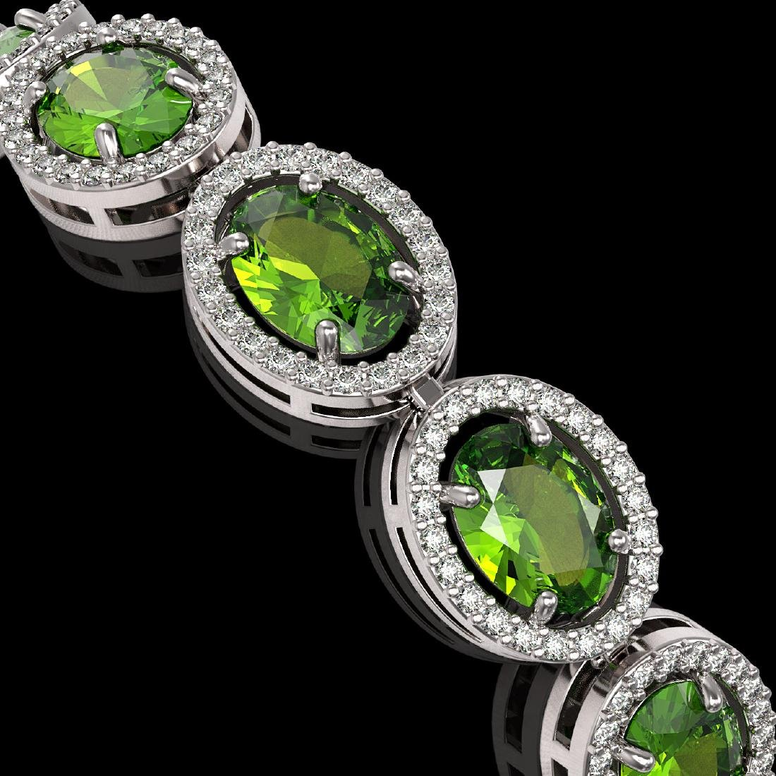 21.13 CTW Peridot & Diamond Halo Bracelet 10K White - 3