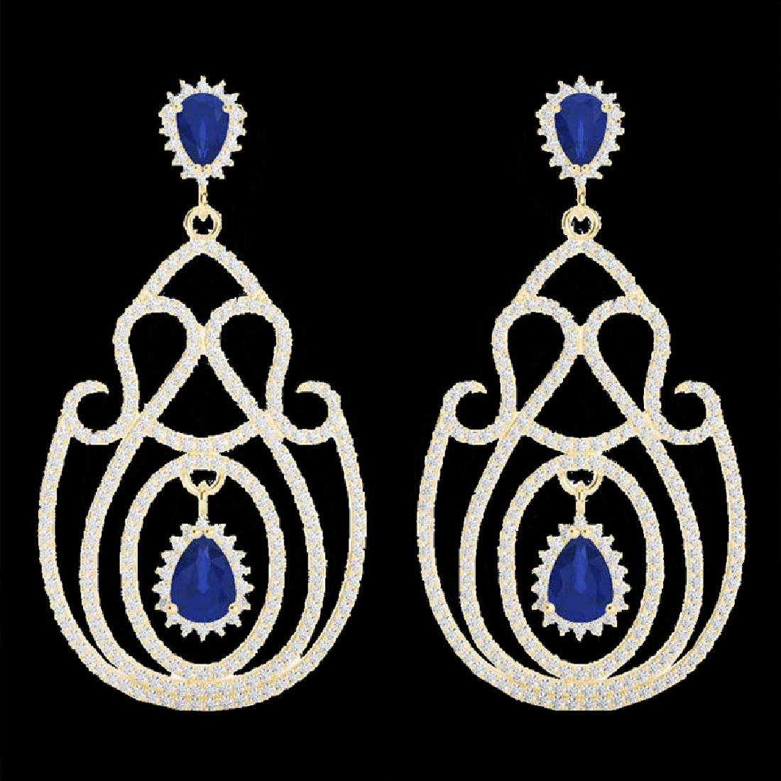 6.40 CTW Sapphire & Micro Pave VS/SI Diamond Earrings - 2