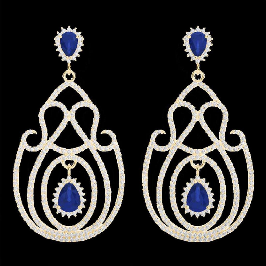 6.40 CTW Sapphire & Micro Pave VS/SI Diamond Earrings - 2