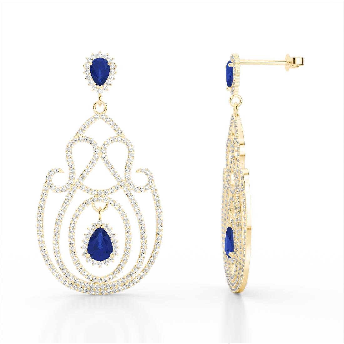 6.40 CTW Sapphire & Micro Pave VS/SI Diamond Earrings - 3