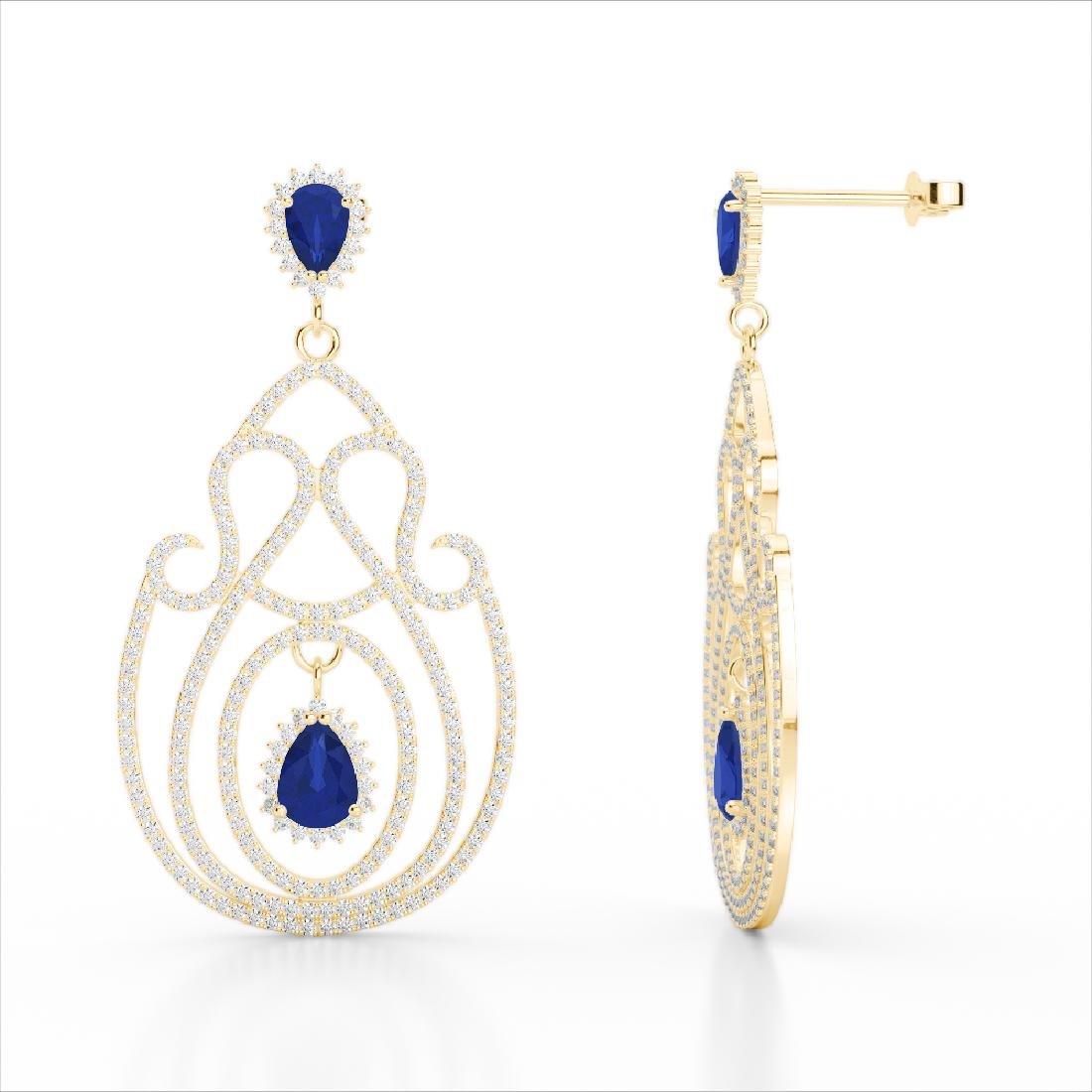 6.40 CTW Sapphire & Micro Pave VS/SI Diamond Earrings - 3