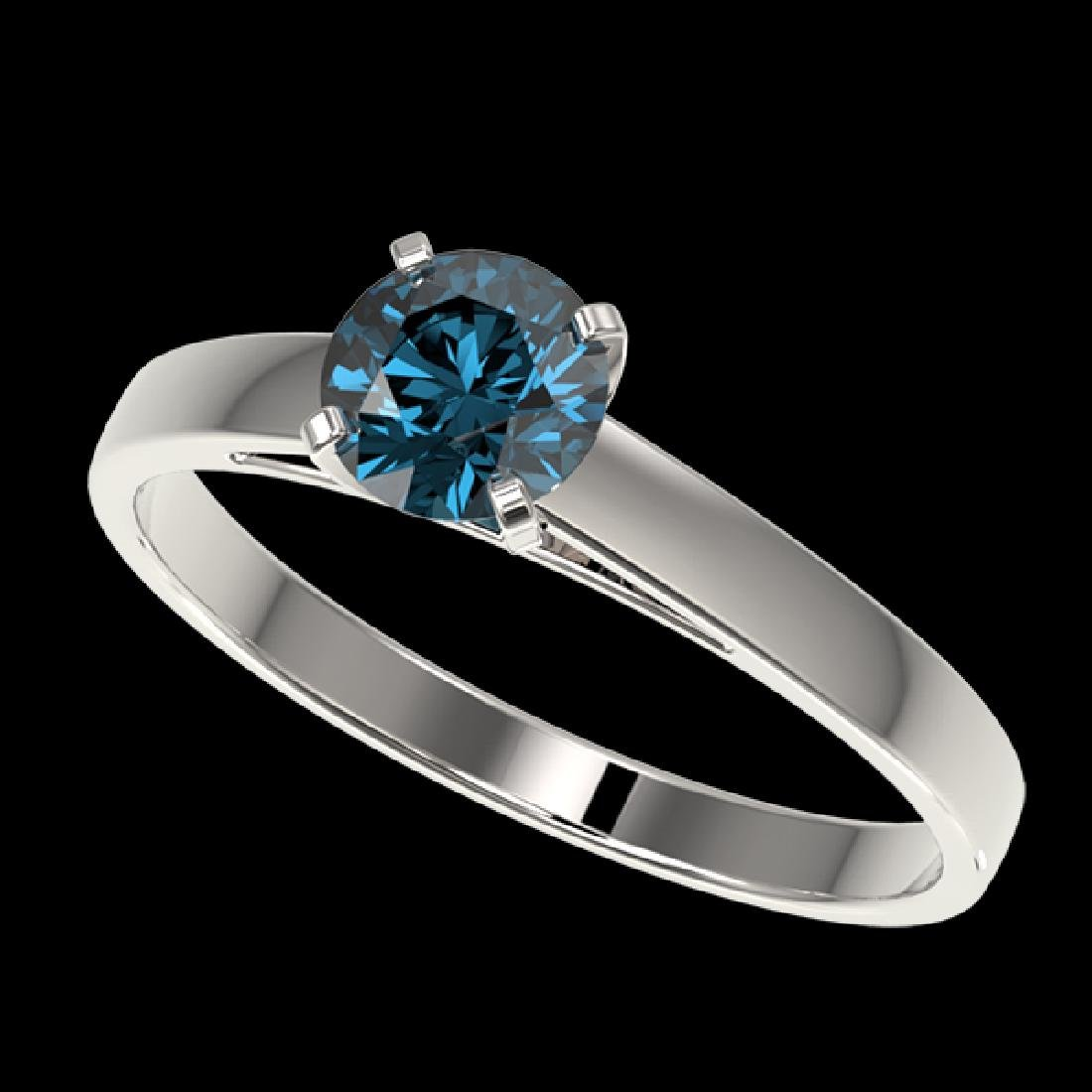 0.76 CTW Certified Intense Blue SI Diamond Solitaire