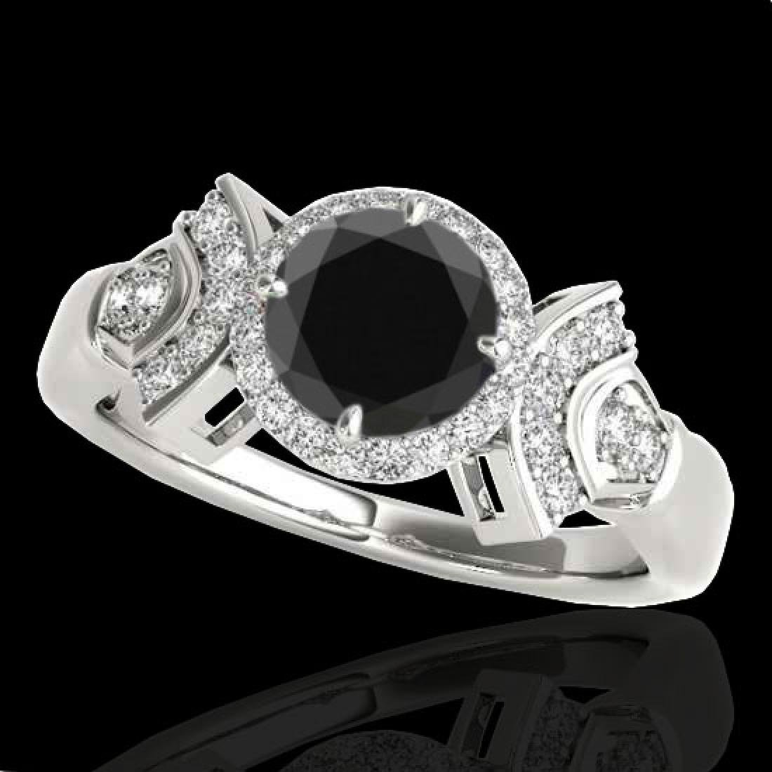 1.56 CTW Certified VS Black Diamond Solitaire Halo Ring