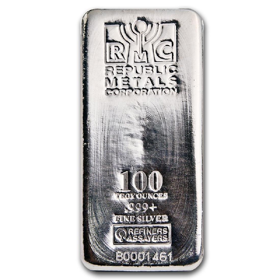 One piece 100 oz 0.999 Fine Silver Bar Republic Metals