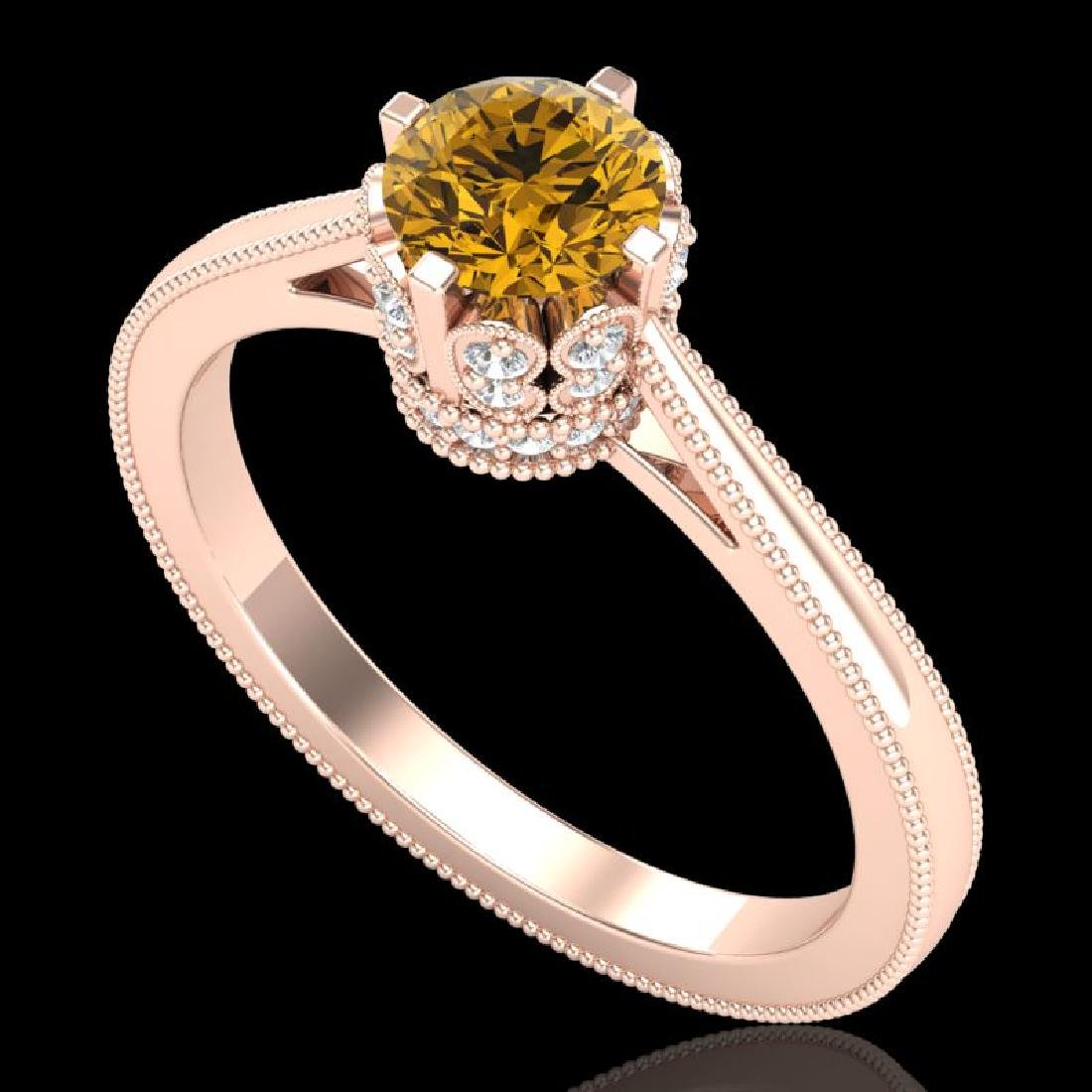 0.81 CTW Intense Fancy Yellow Diamond Engagement Art