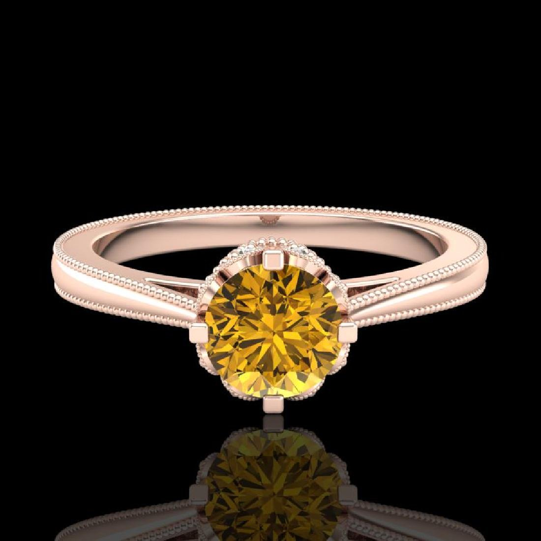0.81 CTW Intense Fancy Yellow Diamond Engagement Art - 2