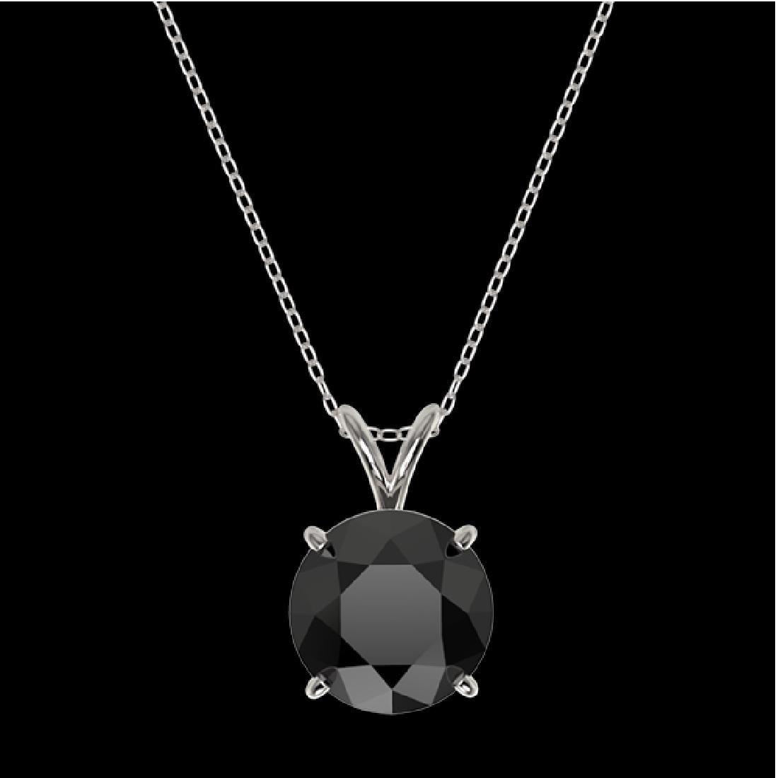 2.50 CTW Fancy Black VS Diamond Solitaire Necklace 10K - 3
