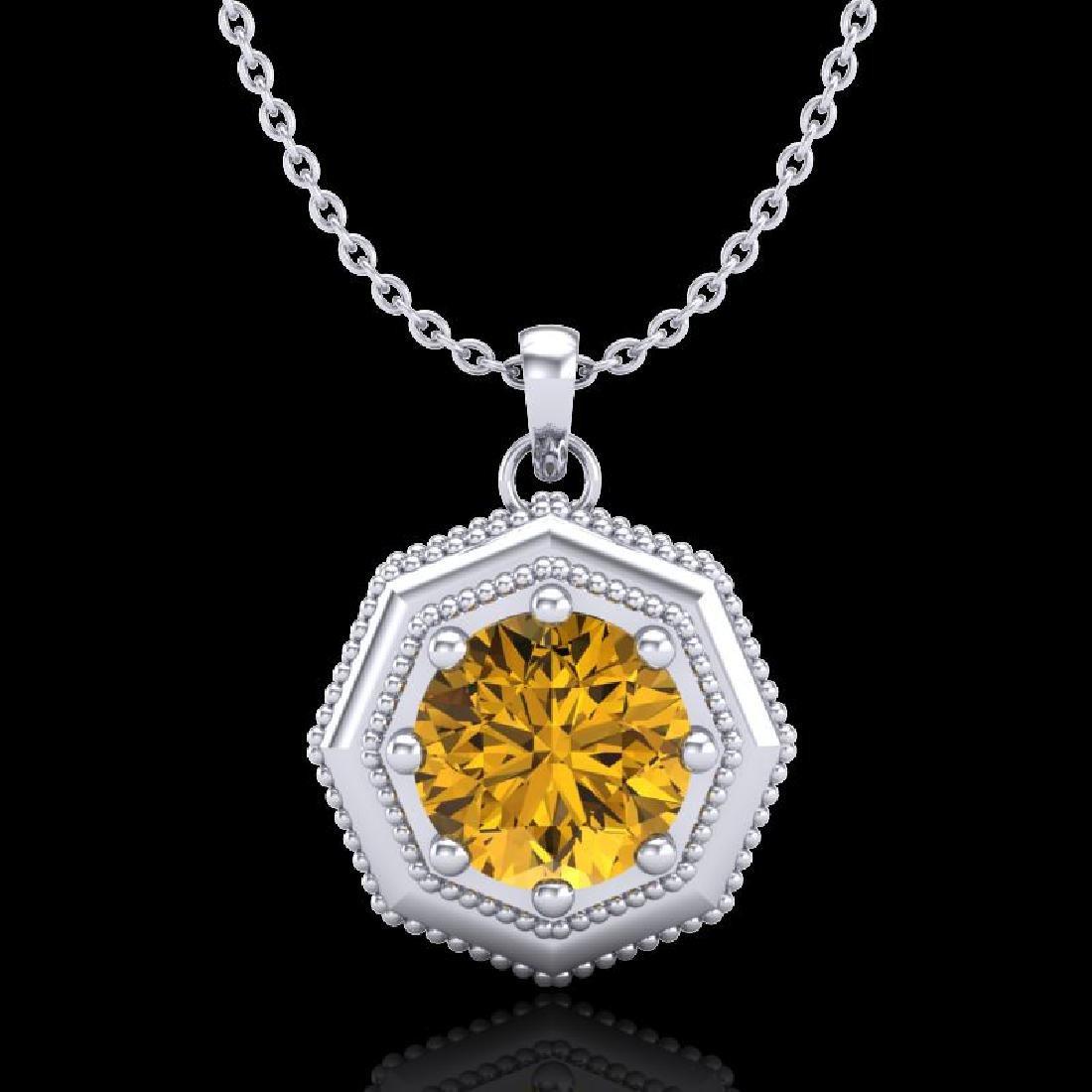 0.75 CTW Intense Fancy Yellow Diamond Art Deco Stud