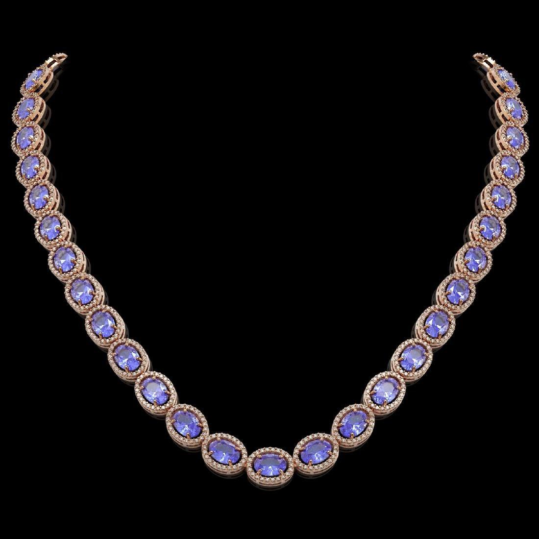 48.65 CTW Tanzanite & Diamond Halo Necklace 10K Rose