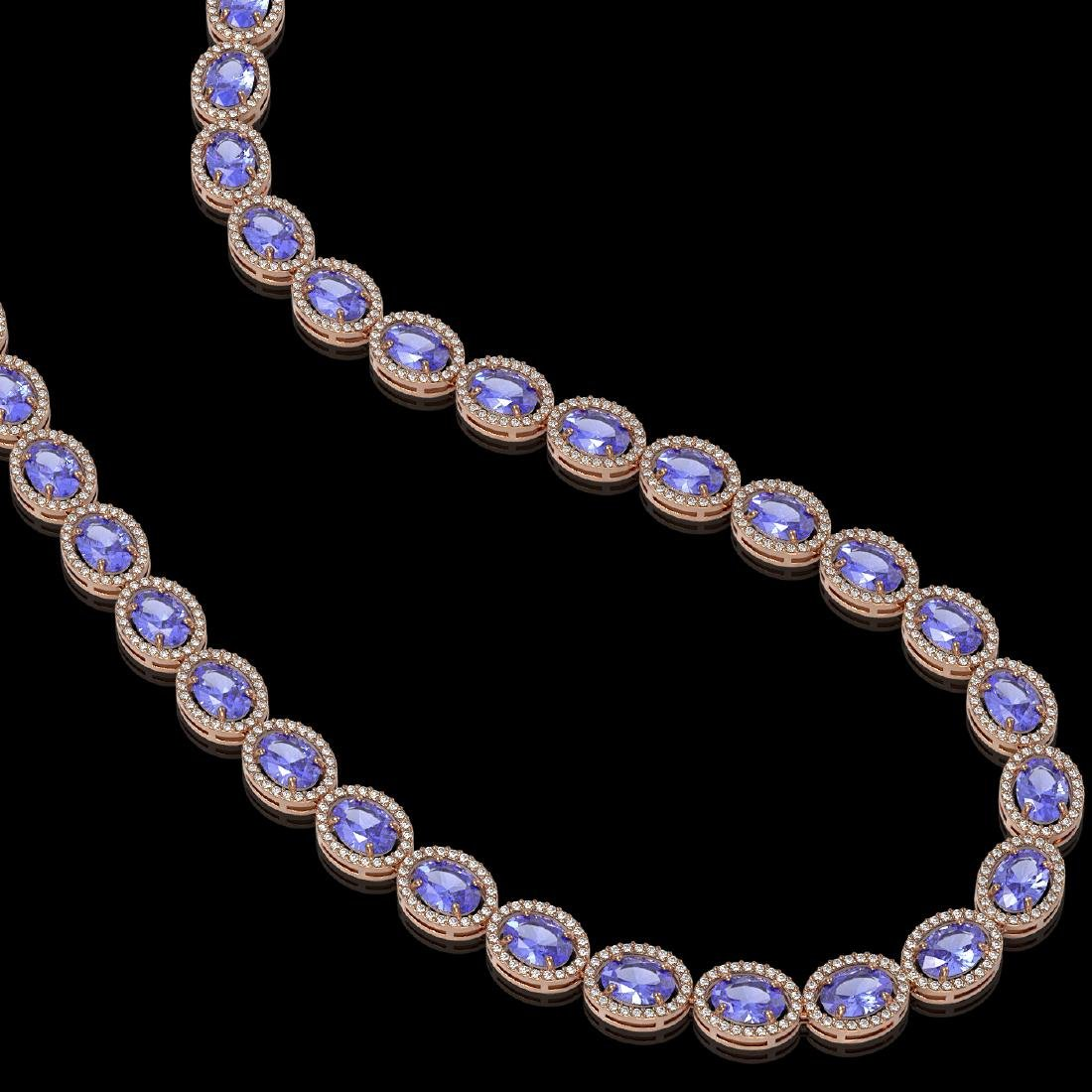 48.65 CTW Tanzanite & Diamond Halo Necklace 10K Rose - 2