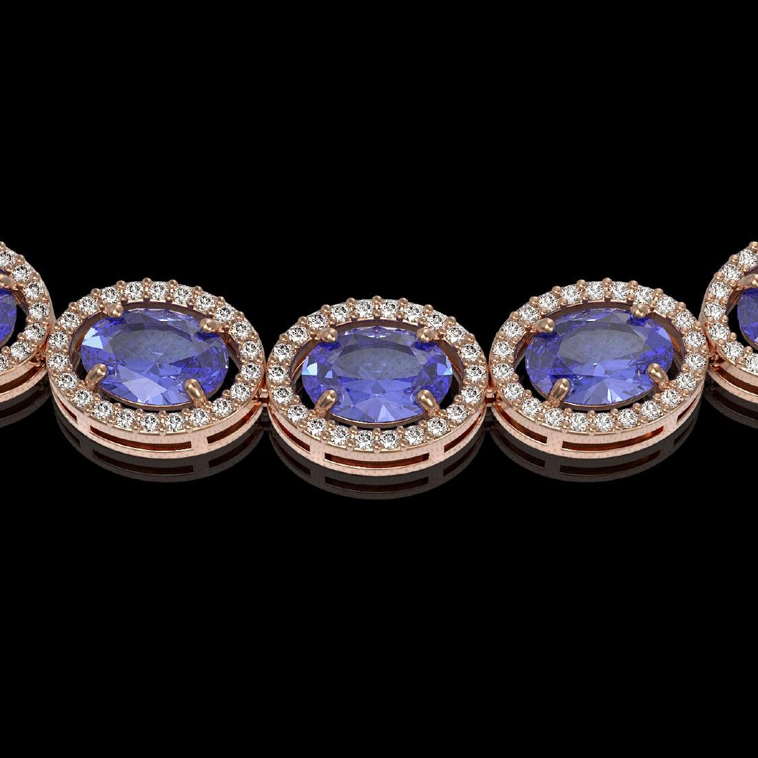 48.65 CTW Tanzanite & Diamond Halo Necklace 10K Rose - 3