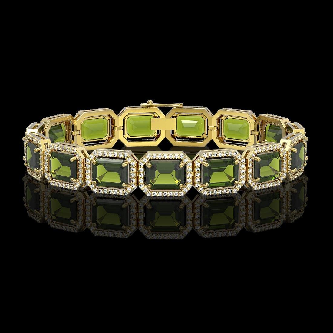 36.51 CTW Tourmaline & Diamond Halo Bracelet 10K Yellow