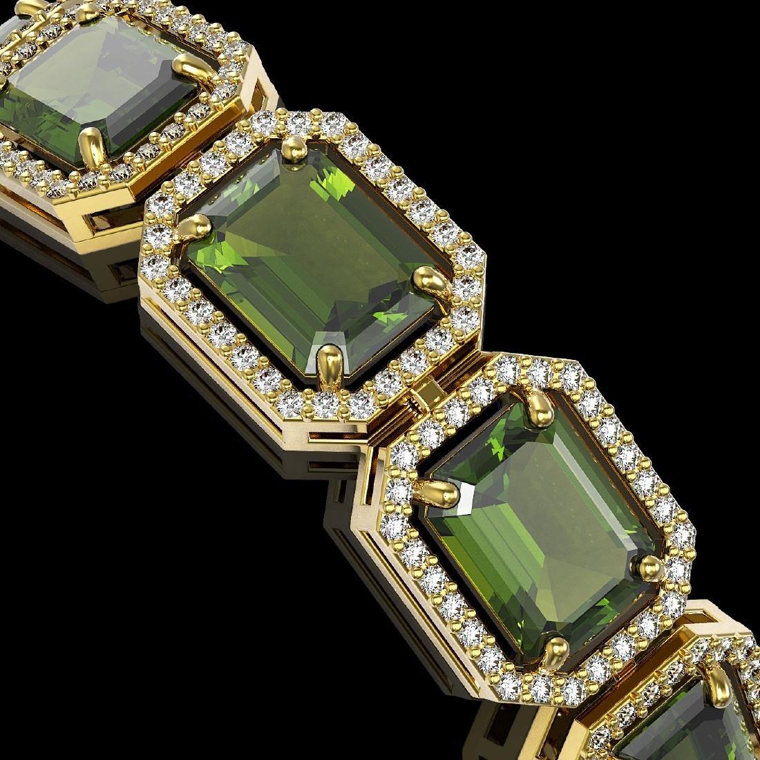 36.51 CTW Tourmaline & Diamond Halo Bracelet 10K Yellow - 3