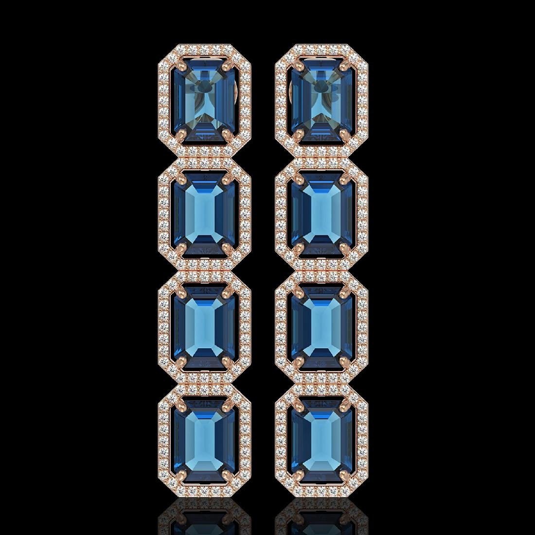 18.99 CTW London Topaz & Diamond Halo Earrings 10K Rose