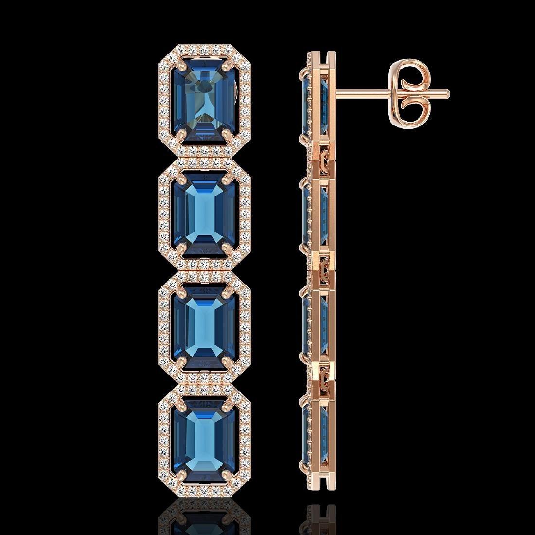 18.99 CTW London Topaz & Diamond Halo Earrings 10K Rose - 2