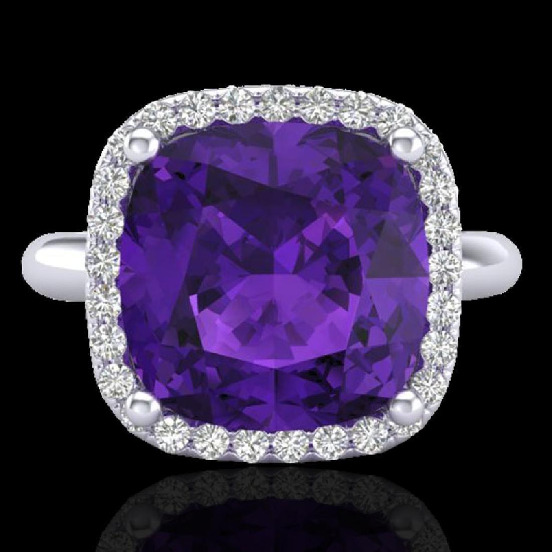 6 CTW Amethyst & Micro Pave Halo VS/SI Diamond Ring