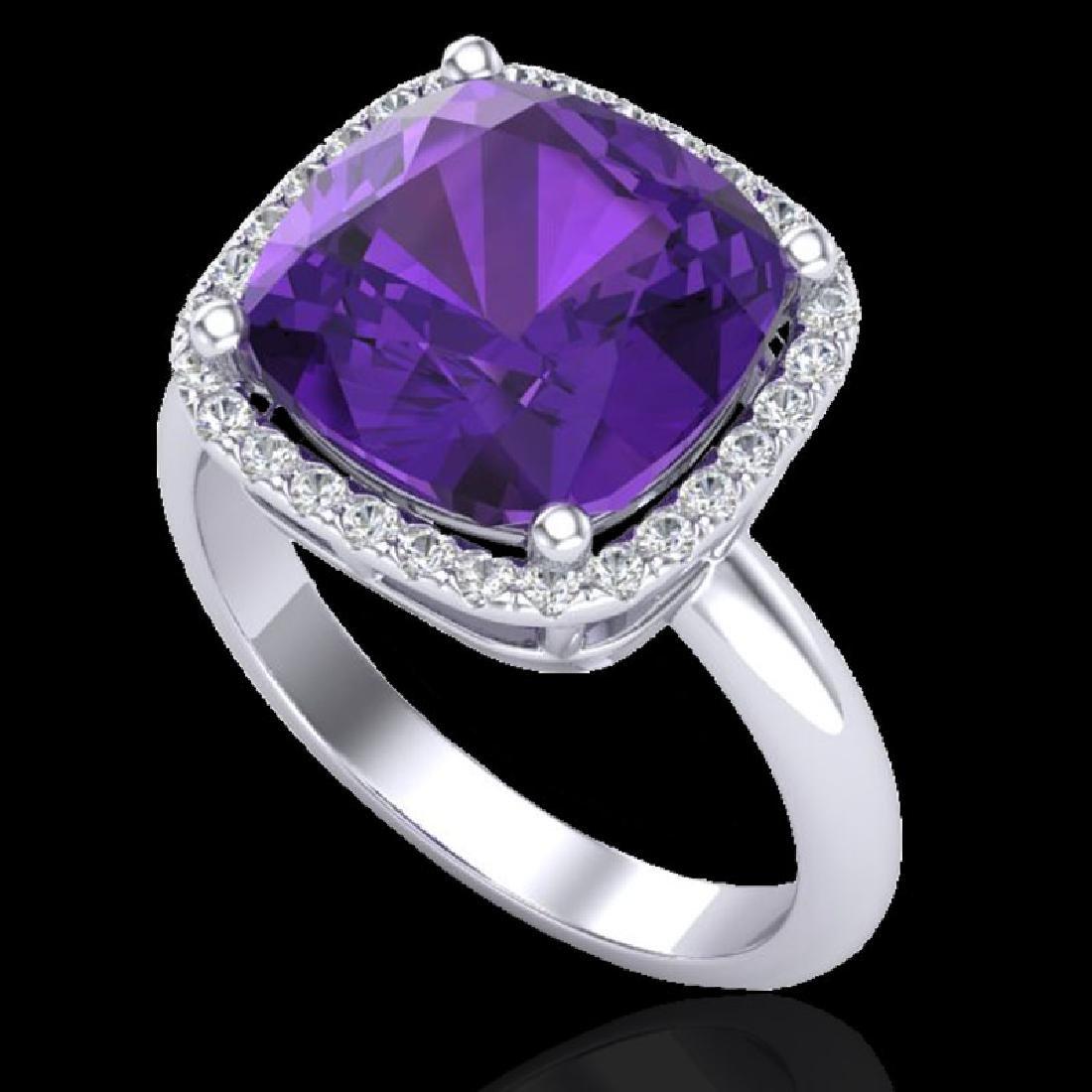 6 CTW Amethyst & Micro Pave Halo VS/SI Diamond Ring - 2