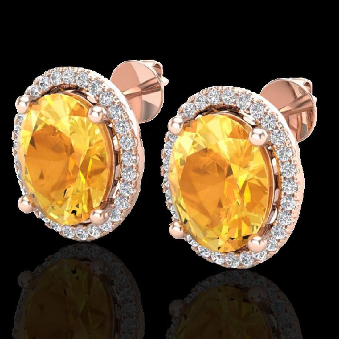5 CTW Citrine & Micro Pave VS/SI Diamond Earrings Halo