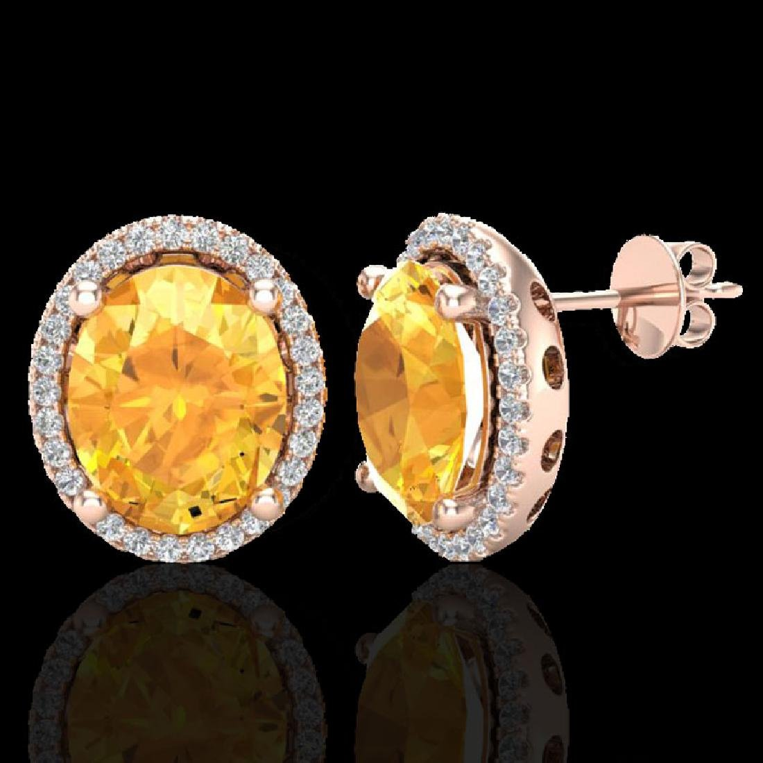 5 CTW Citrine & Micro Pave VS/SI Diamond Earrings Halo - 2