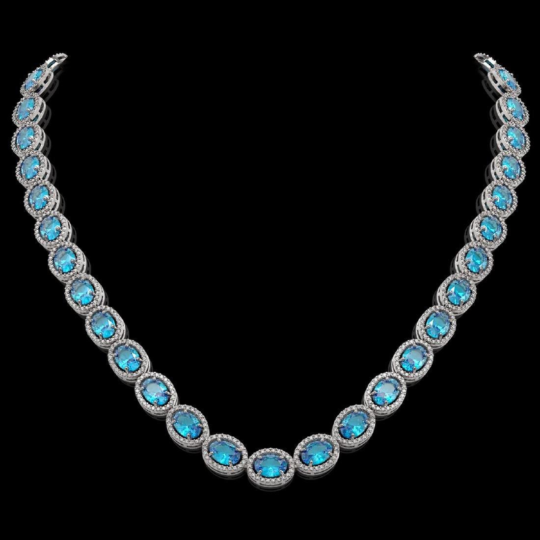 55.41 CTW Swiss Topaz & Diamond Halo Necklace 10K White