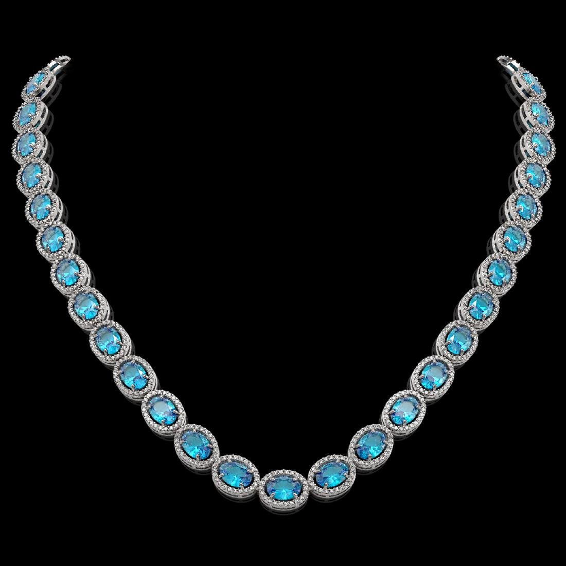 55.41 CTW Swiss Topaz & Diamond Halo Necklace 10K White