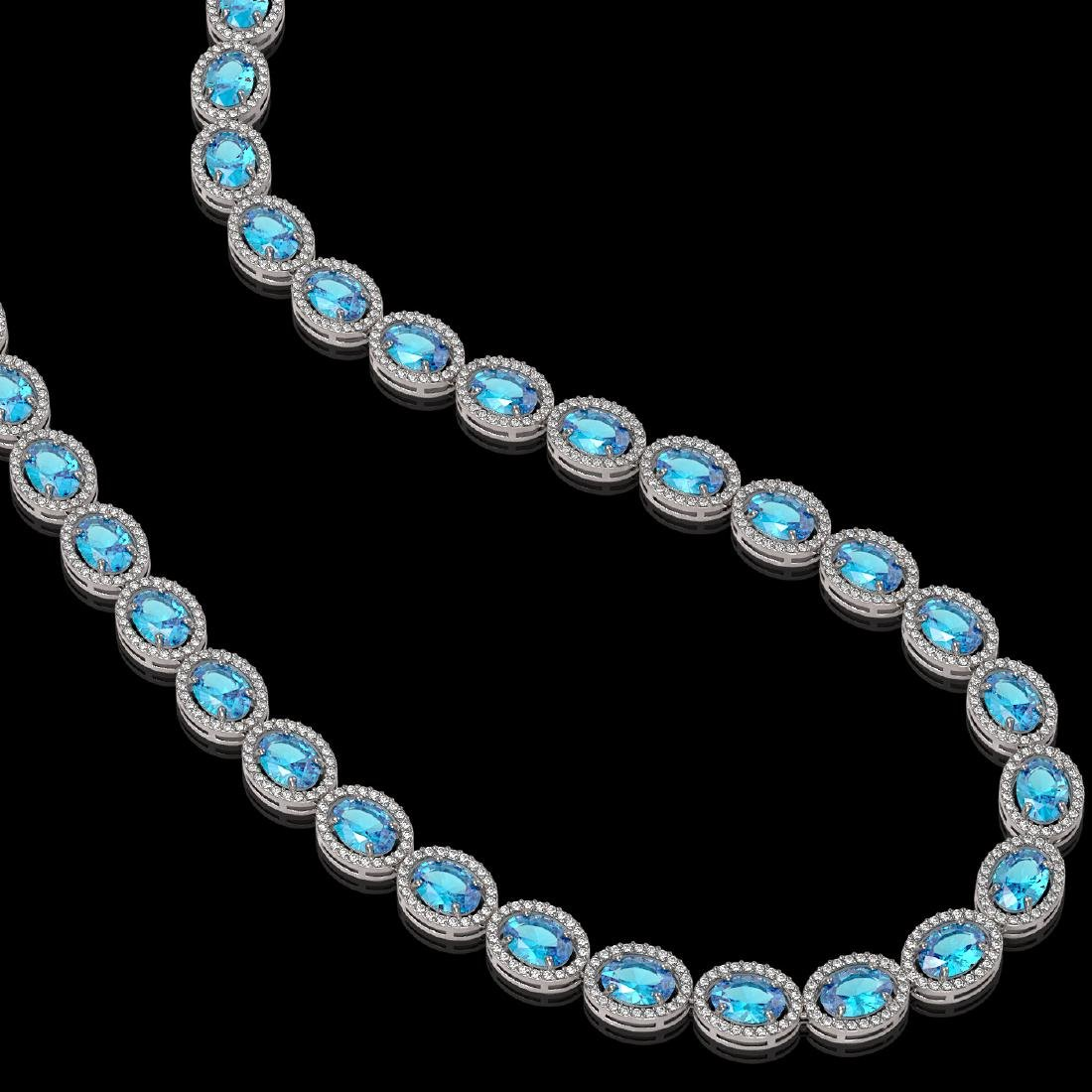 55.41 CTW Swiss Topaz & Diamond Halo Necklace 10K White - 2