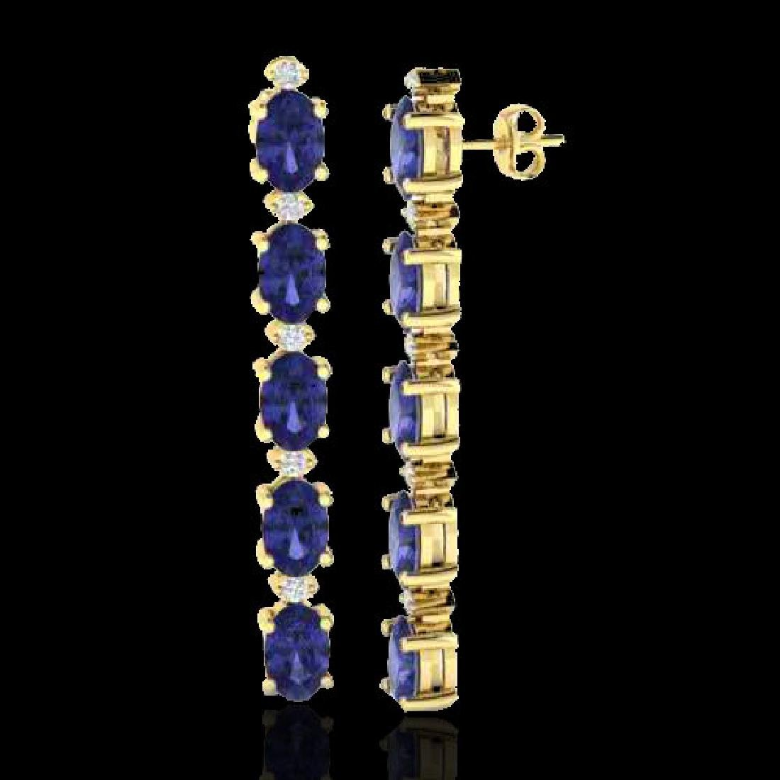 6 CTW Tanzanite & VS/SI Diamond Tennis Earrings 10K - 2