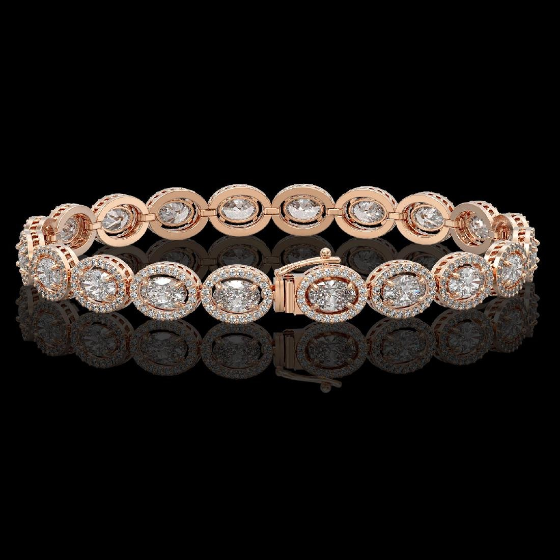13.25 CTW Oval Diamond Designer Bracelet 18K Rose Gold - 2
