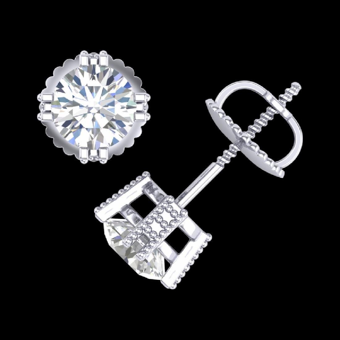 1.07 CTW VS/SI Diamond Solitaire Art Deco Stud Earrings - 3