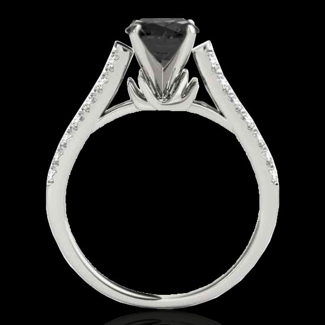 1.46 CTW Certified VS Black Diamond Solitaire Ring 10K - 2