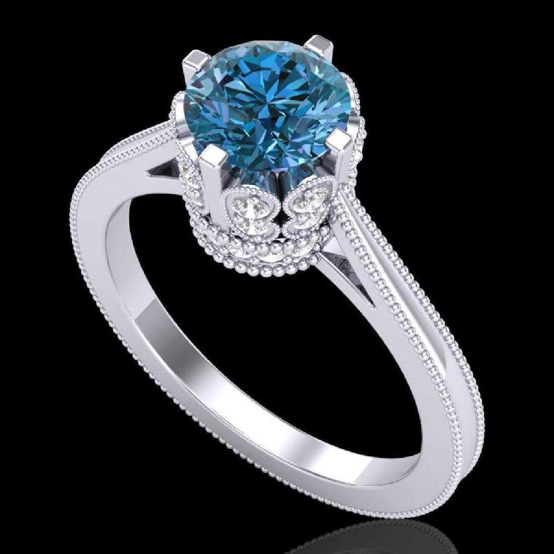 1.5 CTW Fancy Intense Blue Diamond Engagement Art Deco