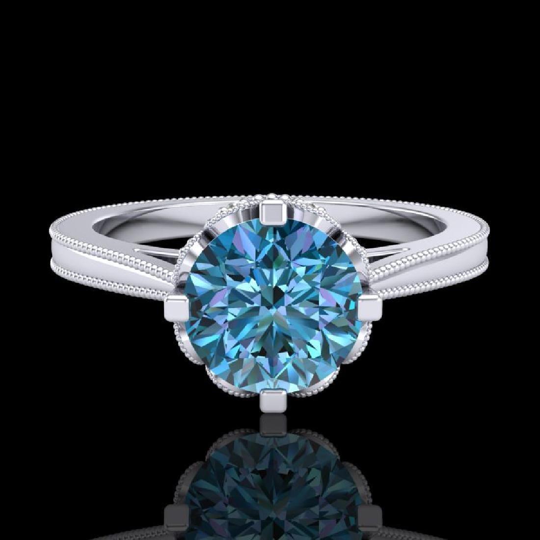 1.5 CTW Fancy Intense Blue Diamond Engagement Art Deco - 2