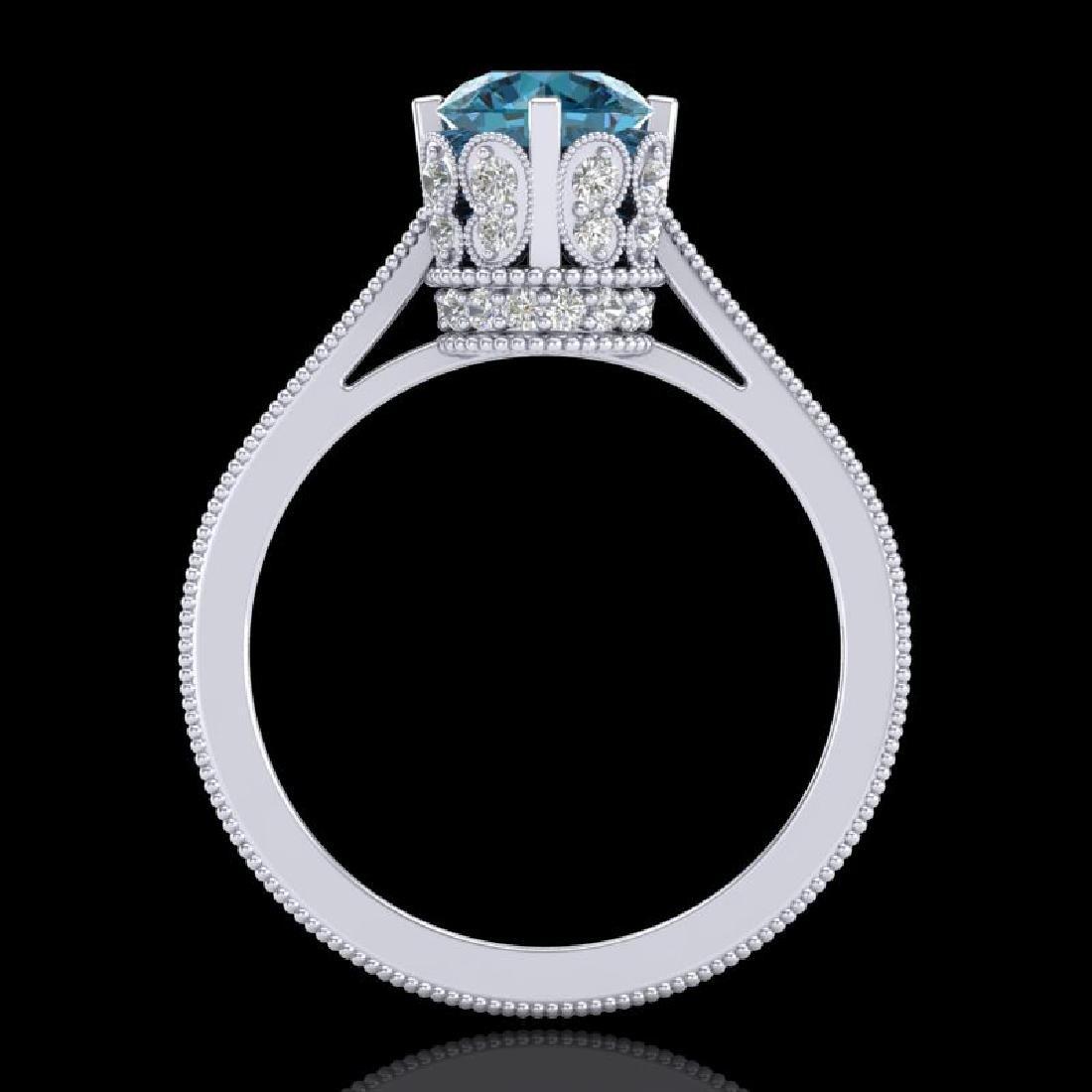 1.5 CTW Fancy Intense Blue Diamond Engagement Art Deco - 3
