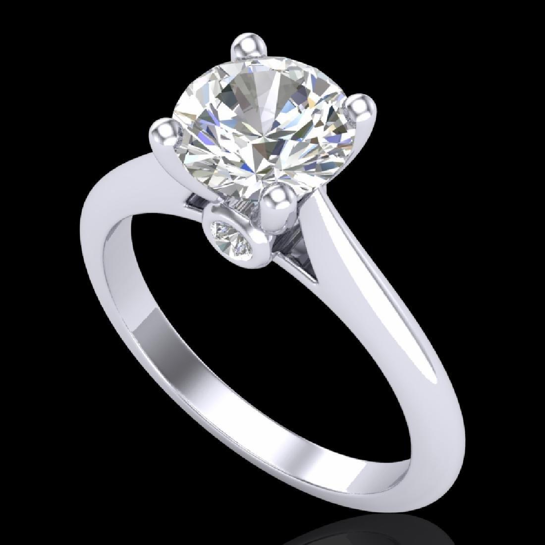 1.6 CTW VS/SI Diamond Art Deco Ring 18K White Gold
