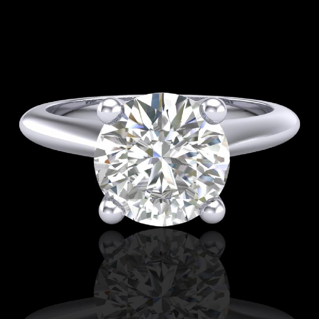 1.6 CTW VS/SI Diamond Art Deco Ring 18K White Gold - 2
