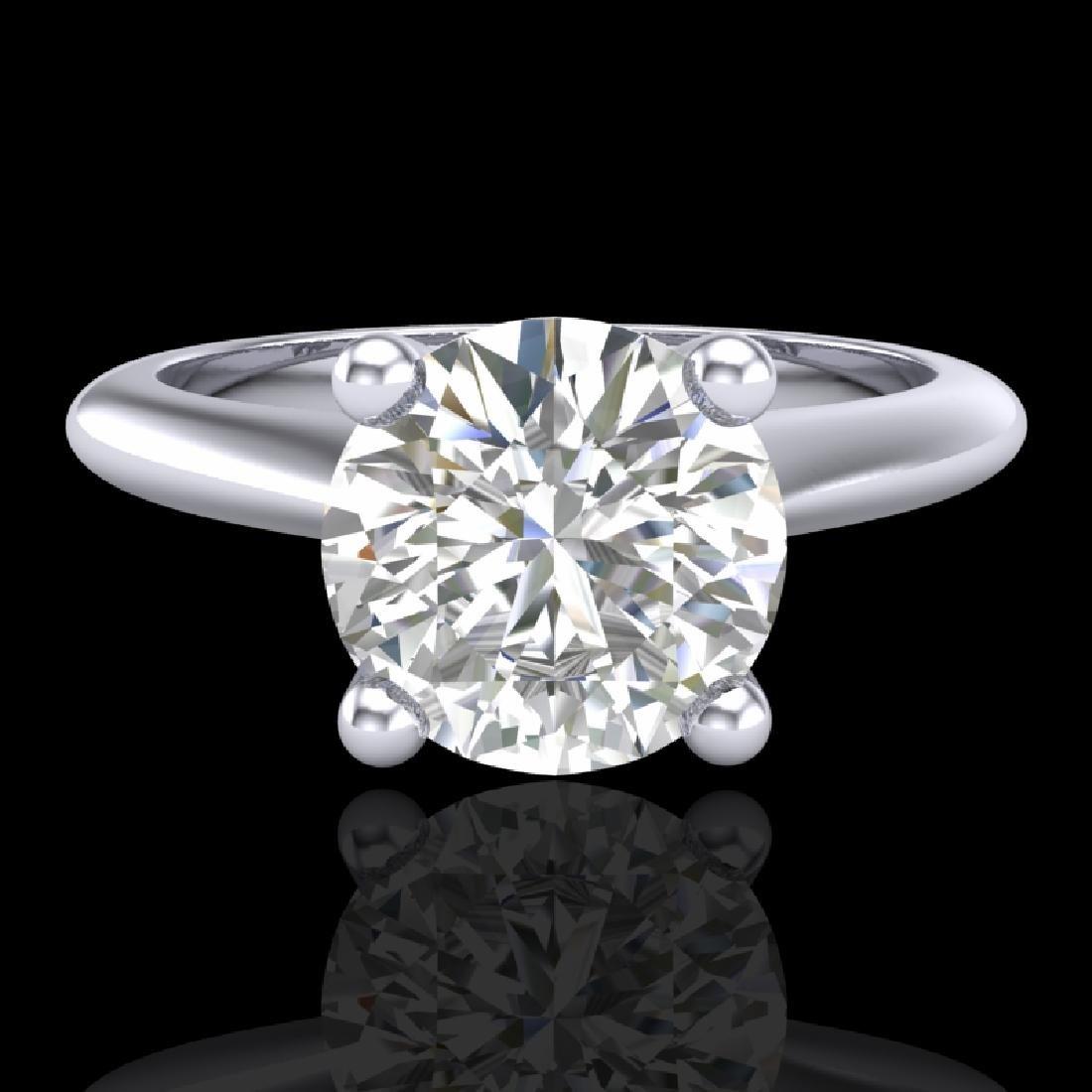 1.6 CTW VS/SI Diamond Art Deco Ring 18K White Gold - 2